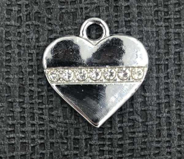Heart with crystal line charm - rhodium - 15mm